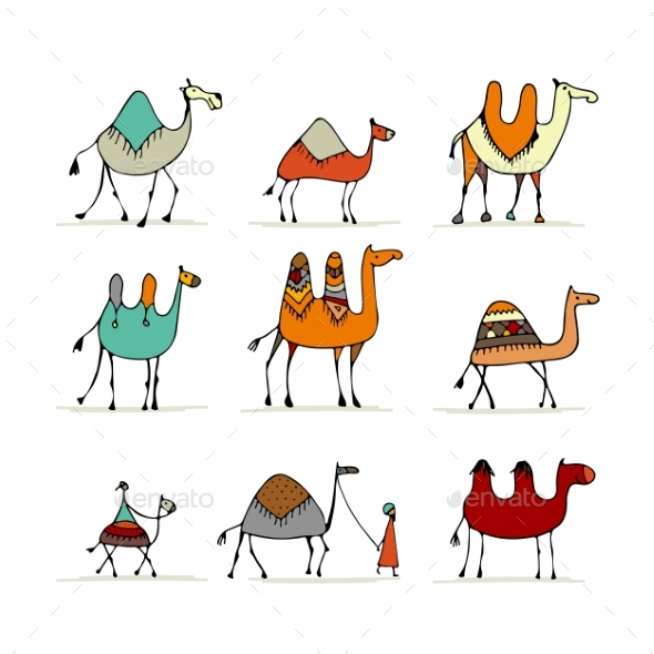 Set sketch for your. Camel clipart sketches