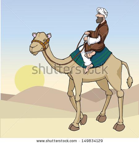 Camel clipart vector. Arab man pencil and