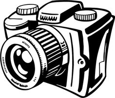 Clipart black and white. Camera clip art