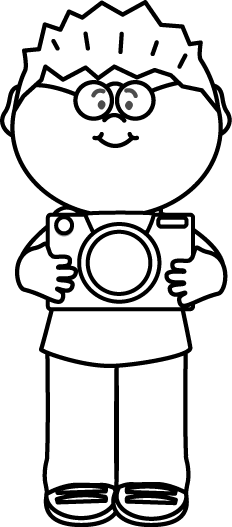 Boys clipart black and white. Boy with camera clip