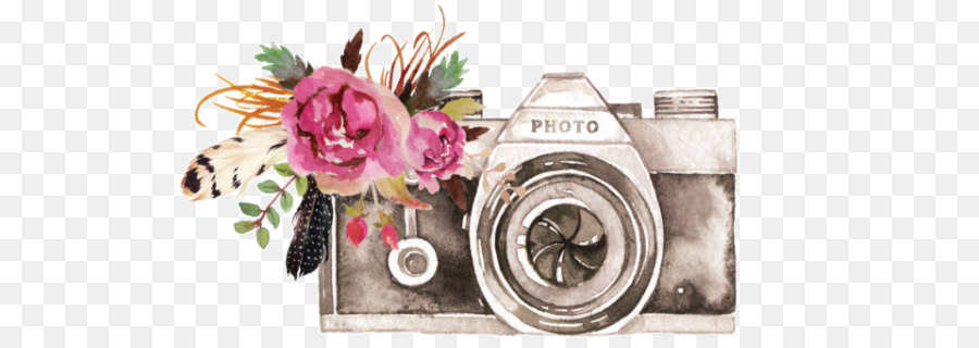 Camera clipart flower. Watercolor floral background illustration