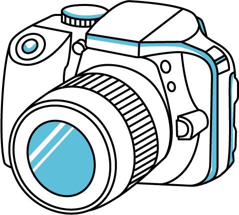 Convert your holiday snaps. Camera clip art line drawing