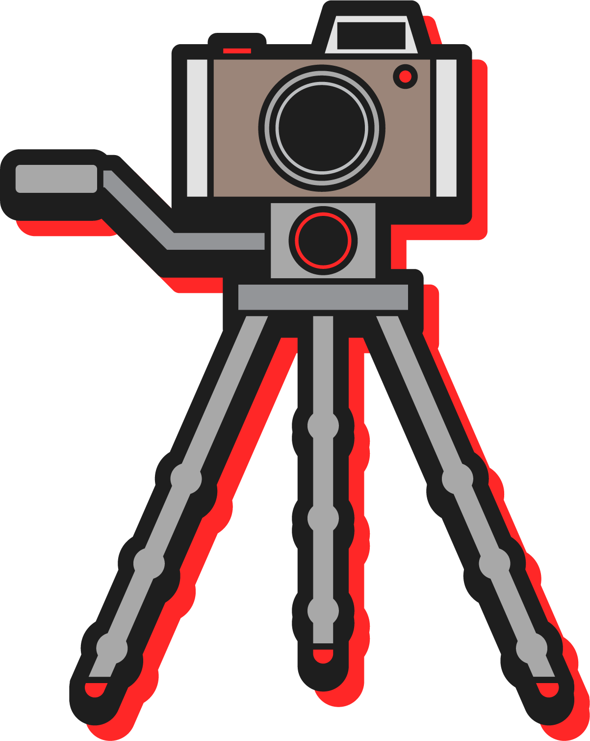 Digital photography cartoon. Camera clip art line drawing