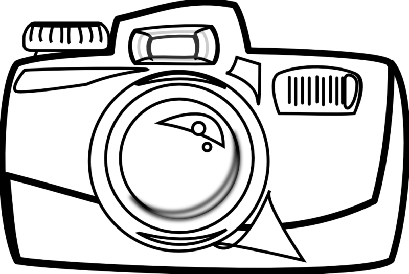 Camera clip art line drawing. Free clipart black and