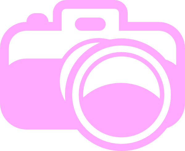 Camera clip art logo. Pink for photography at