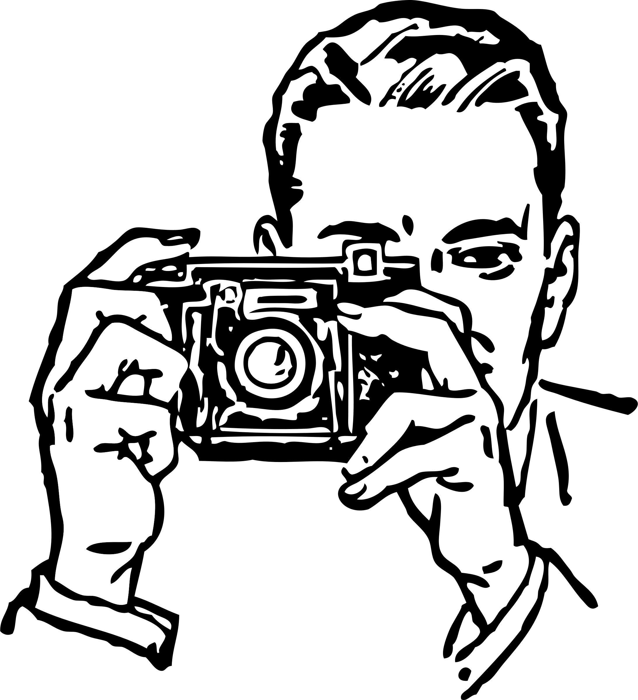 Man with a camera. Photography clipart taken
