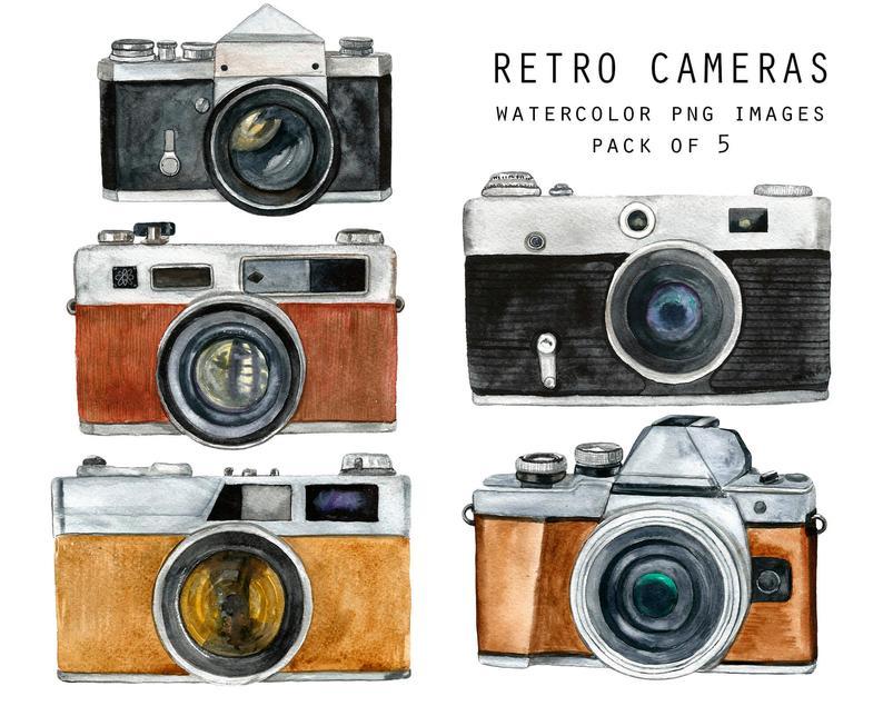Retro watercolor clip art. Camera clipart vintage camera