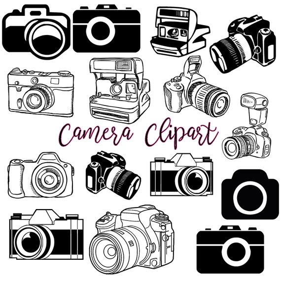 Camera clipart retro camera. Photography clip art logo