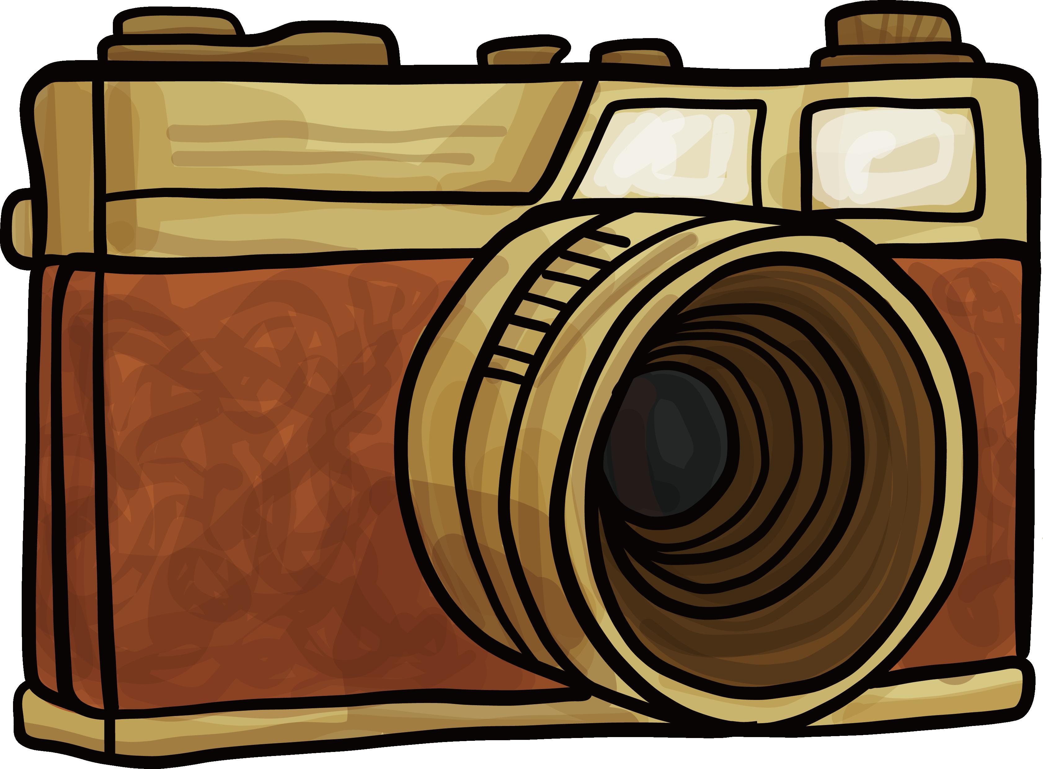 Digital cameras brown hand. Camera clip art retro camera