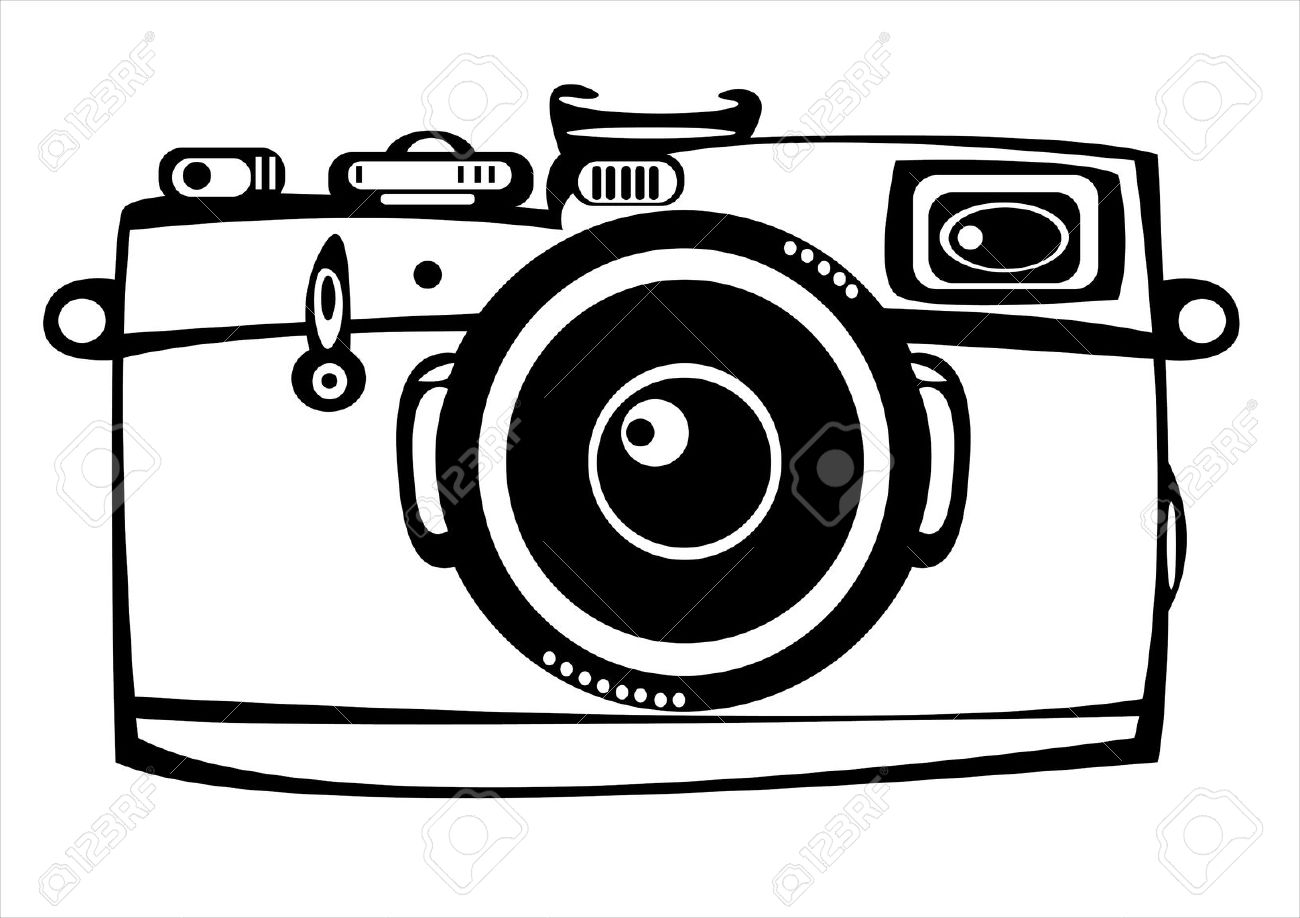 Black and white station. Yearbook clipart old camera
