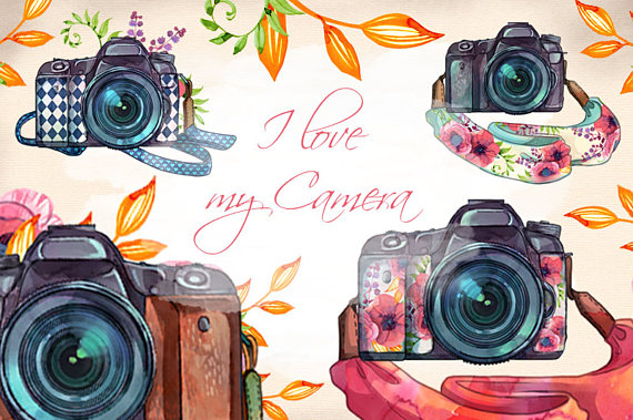 Watercolor hand painted . Camera clipart boho