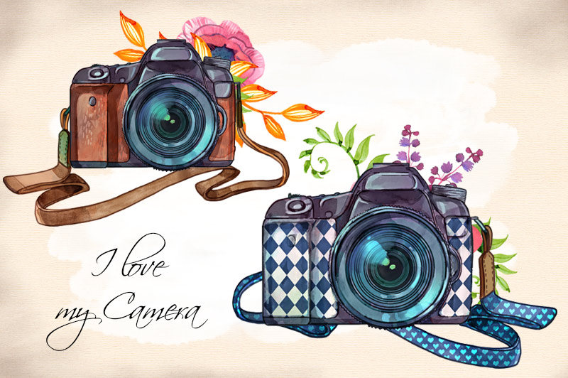 Watercolor hand painted illustrations. Camera clipart boho