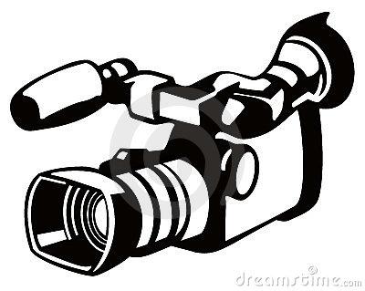 Video stencil style panda. Camera clipart camcorder