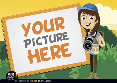 Camera clipart camera frame. Free picture with girl