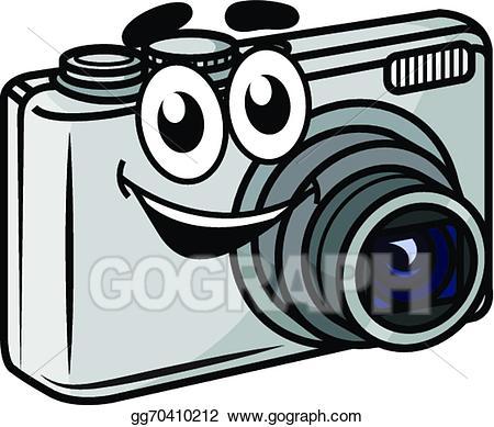 Camera clipart cartoon. Vector art cute little