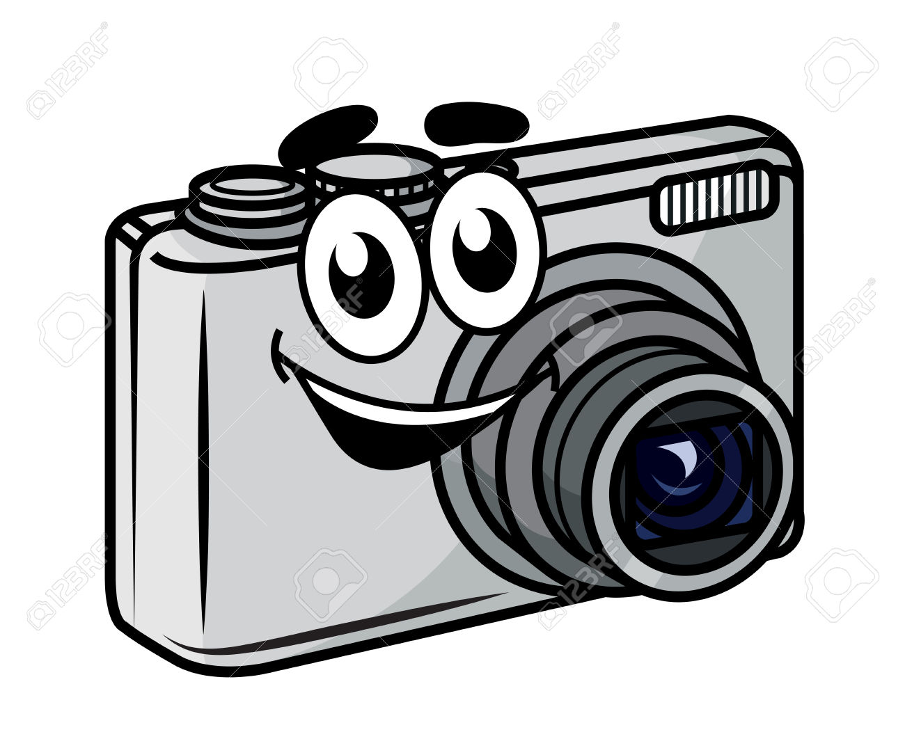Cute little compact station. Camera clipart cartoon
