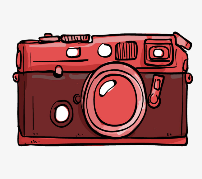 Camera clipart cartoon. Hand painted red drawn