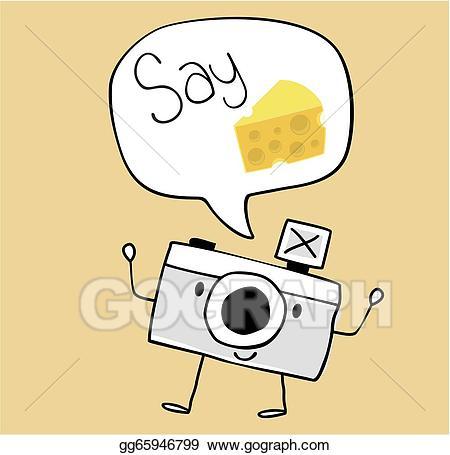 Vector cartoon say illustration. Camera clipart cheese
