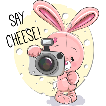 Say rabbit and messages. Camera clipart cheese