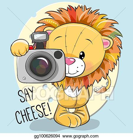 Vector art cute cartoon. Camera clipart cheese