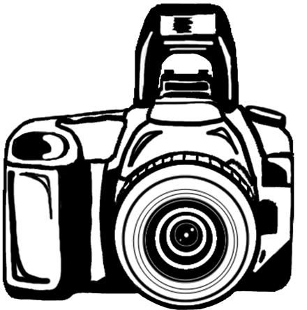 Black and white free. Back clipart camera