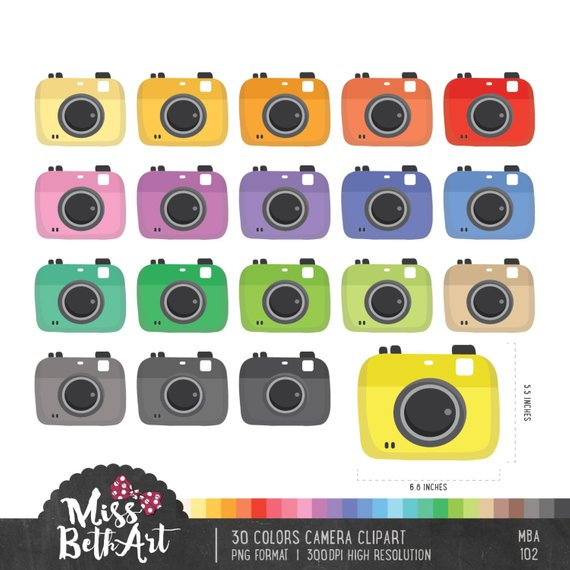colors cameras instant. Camera clipart colored