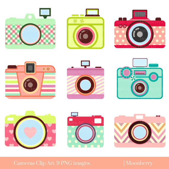 Back clipart camera. Cute clip art retro