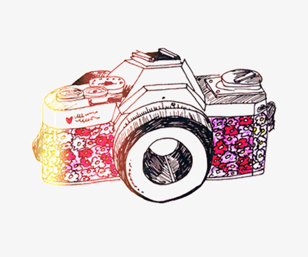 Beautiful hand painted color. Camera clipart colored