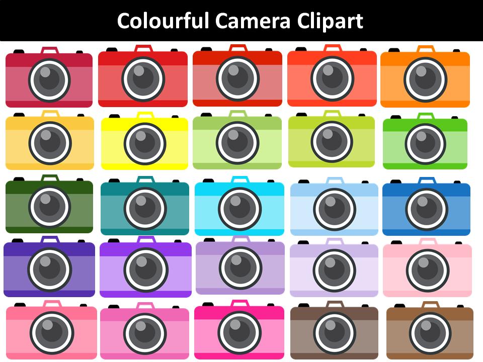 Camera clipart colored. Colourful