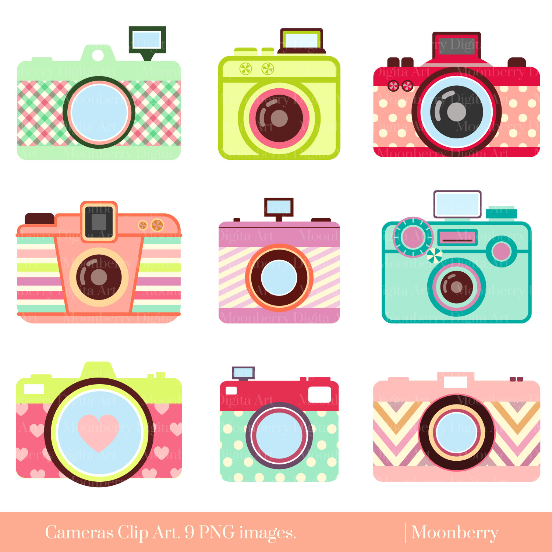 Clip art retro digital. Camera clipart cute