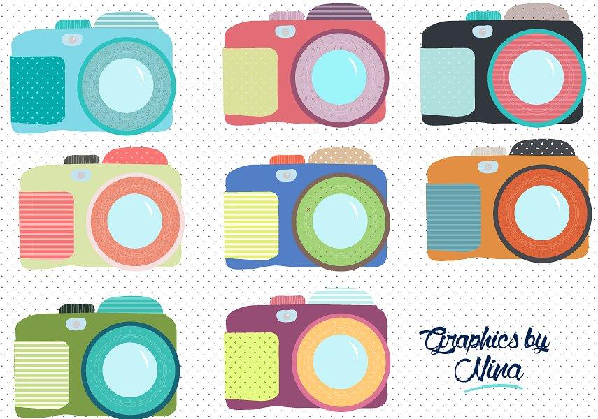 Camera clipart cute. Colorful cameras illustrations creative