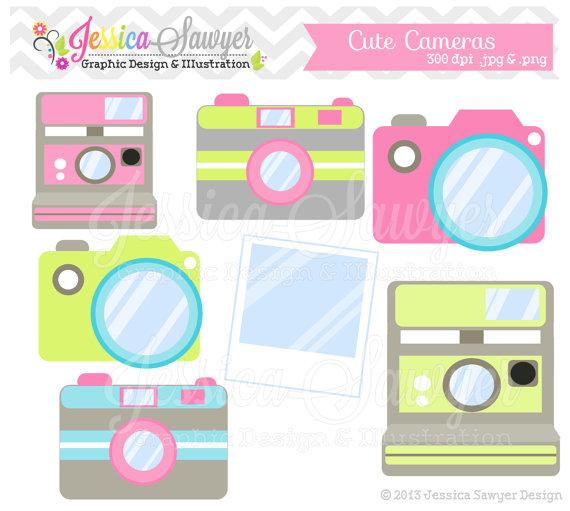 Camera clipart cute. Instant download clip art