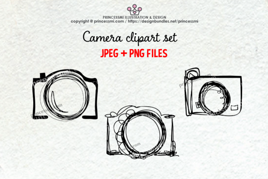 Camera clipart doodle. Set