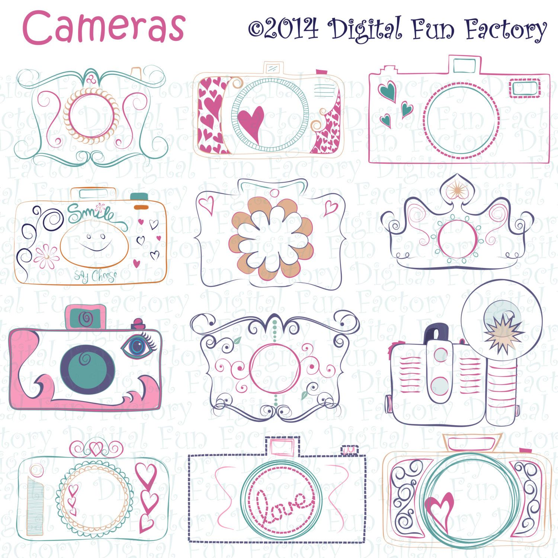 Camera clipart doodle. Clip art cute cameras