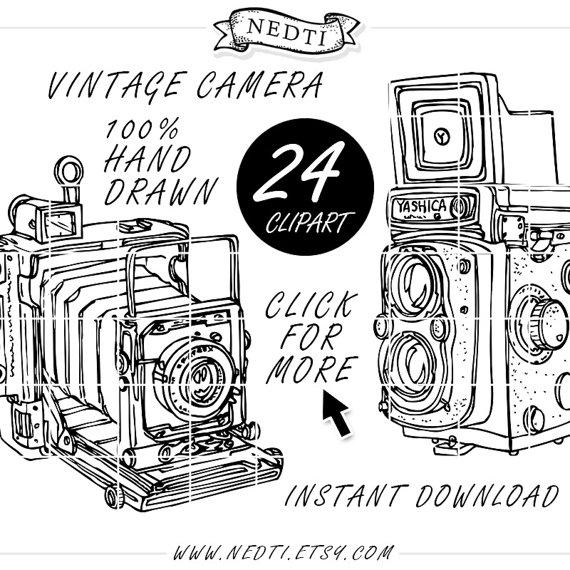 Camera clipart doodle. Vintage photography clip art