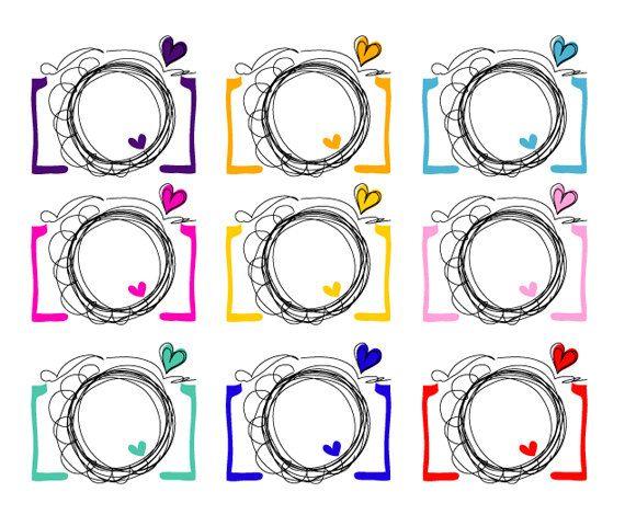Digital clip art elements. Camera clipart doodle