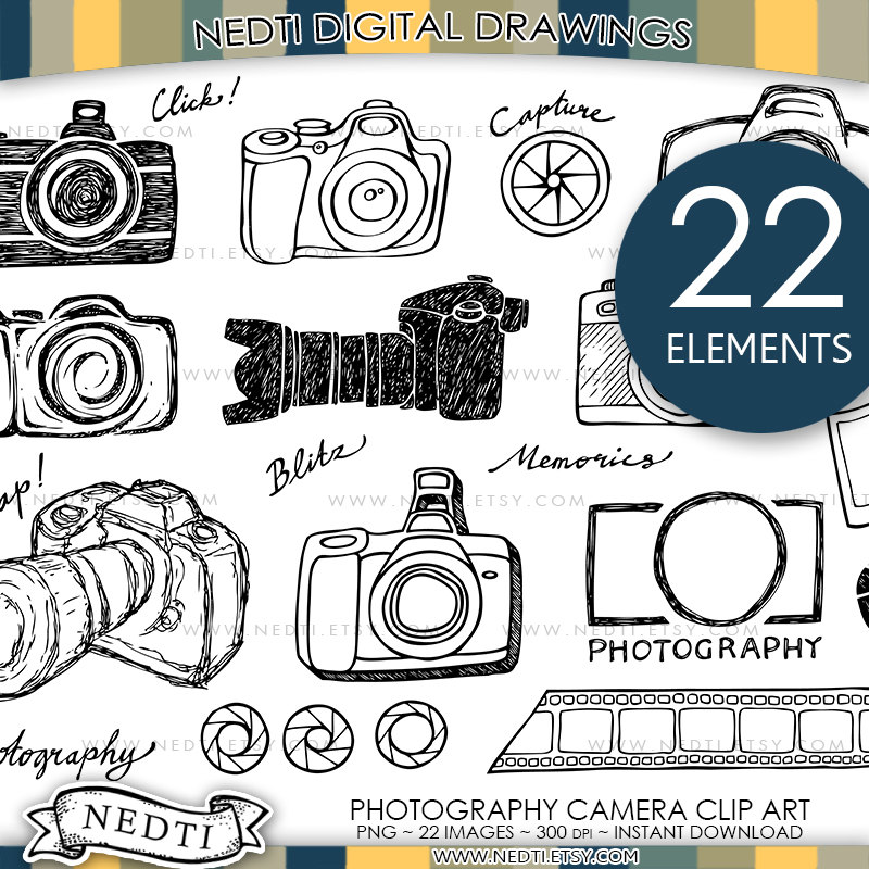 Photography clip art png. Camera clipart doodle