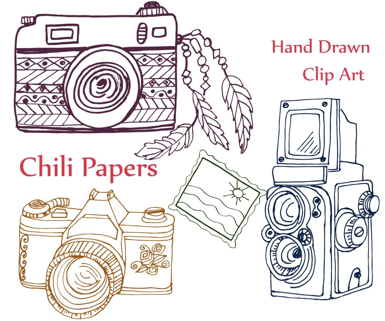 Camera clipart doodle. Clip art abr brushes