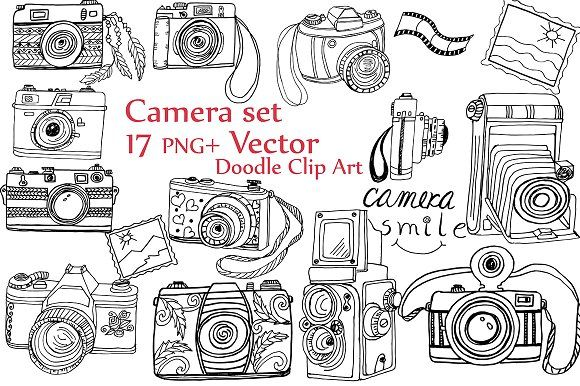 Clipart camera doodle. By chilipapers illustration