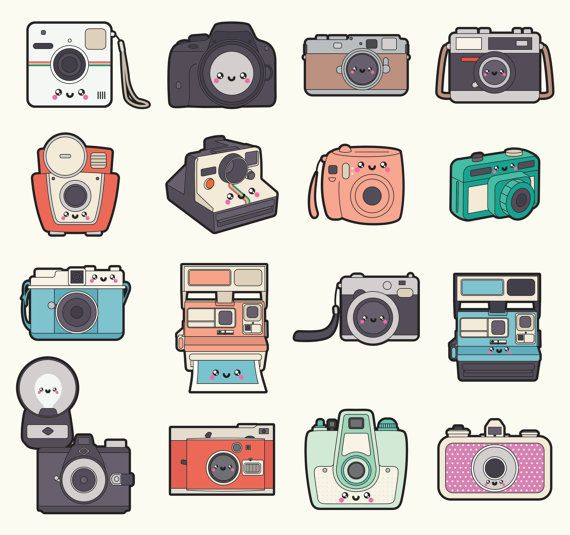Premium vector kawaii cameras. Camera clipart drawn