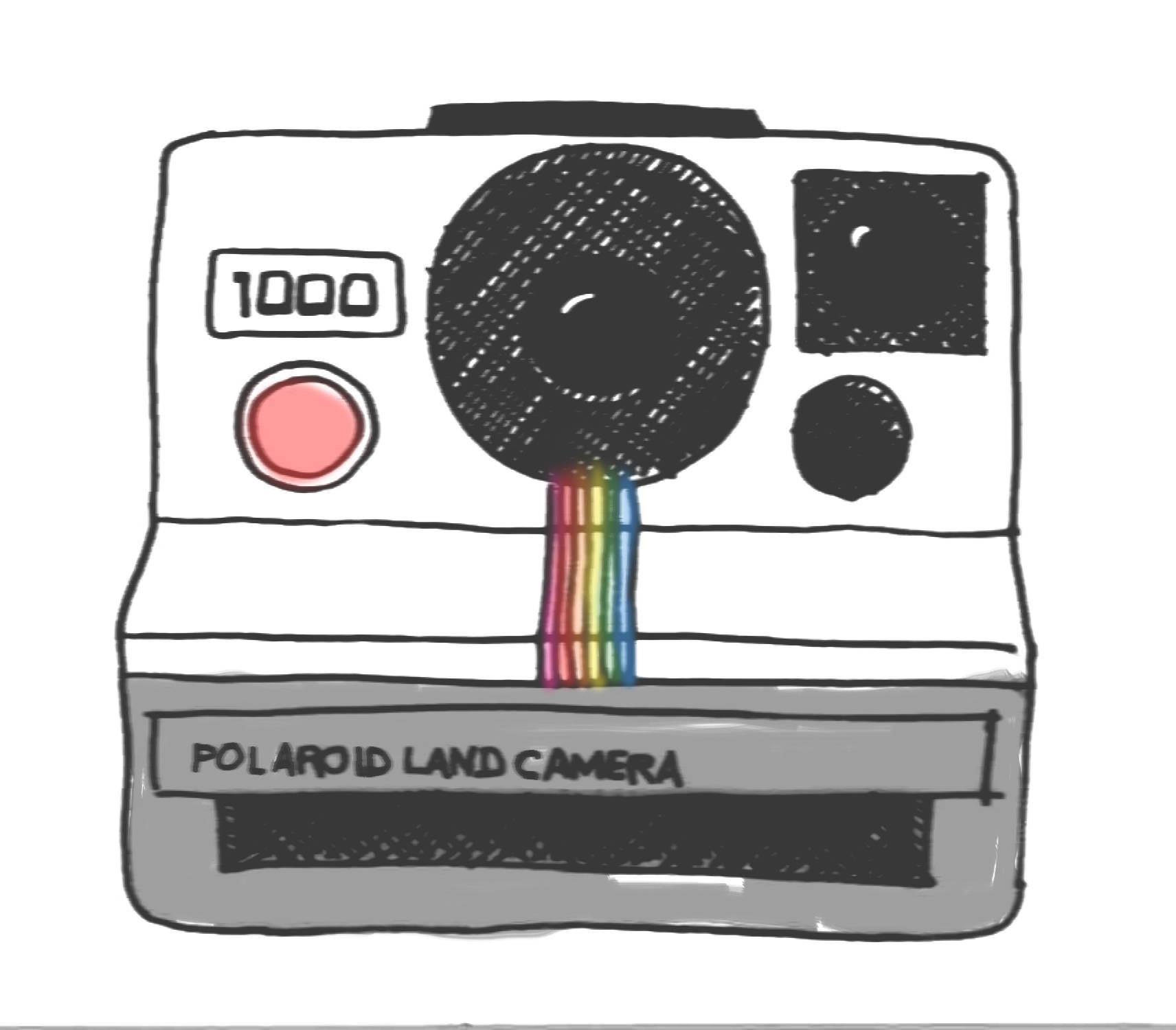 Polaroid hand clip art. Camera clipart drawn