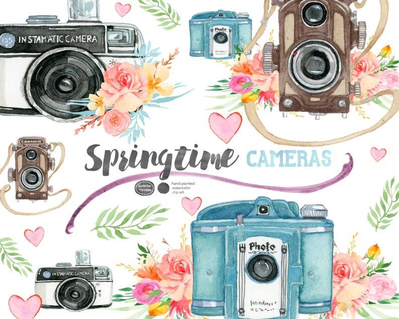 Camera clipart flower. Springtime cameras vintage clip