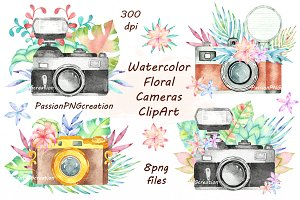 Camera clipart flower. Watercolor photos graphics fonts