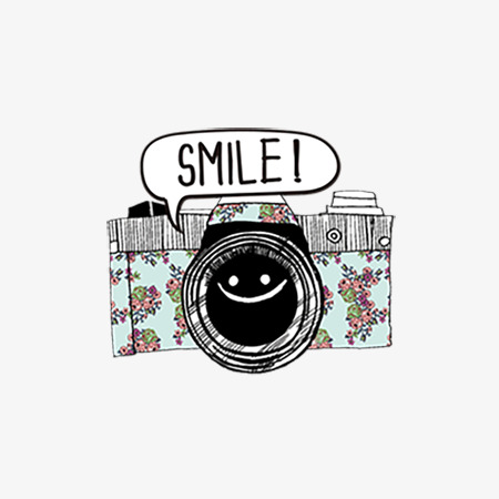 Cartoon pattern png image. Camera clipart flower