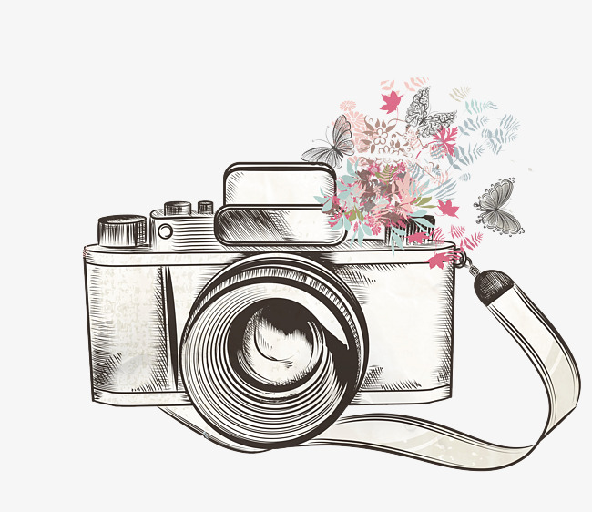 Camera clipart flower. One hand painted png