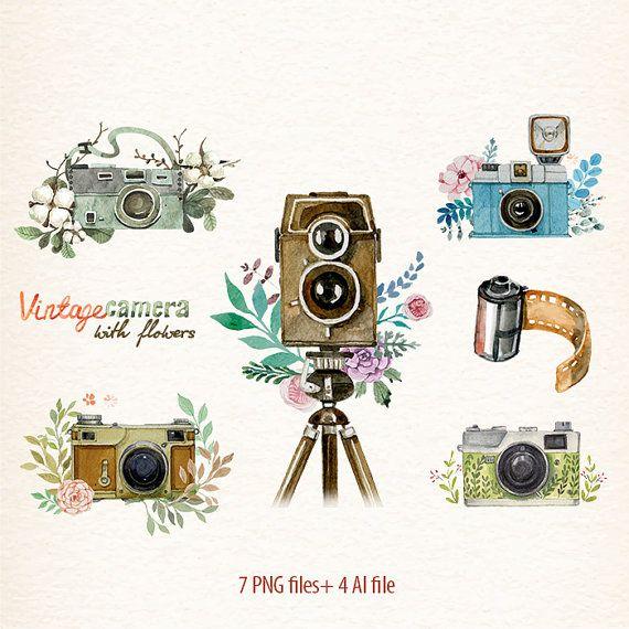 Watercolor retro flowers cameras. Camera clipart flower
