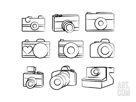 Set of cameras and. Camera clipart hand drawn