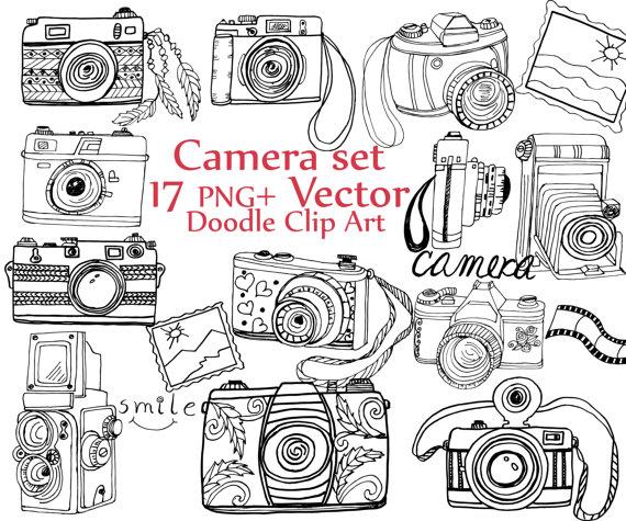 Camera clipart hand drawn. Doodle clip art vector