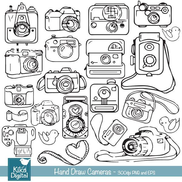 Camera clipart hand drawn. Cameras clip art line