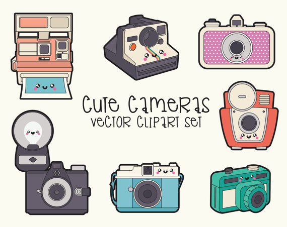 Premium vector . Camera clipart kawaii